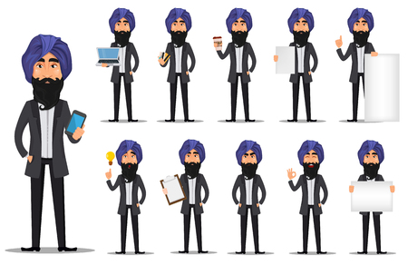 Indian business man cartoon character set. Young handsome businessman in business suit and turban - stock vector