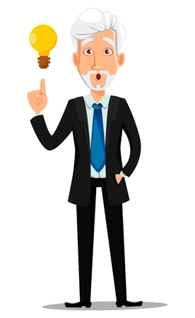 Business man in office style clothes with gray hair. Businessman cartoon character having a good idea. Vector illustration on white background 矢量图像