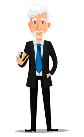 Business man in office style clothes with gray hair. Businessman cartoon character holding credit cards. Vector illustration on white background 矢量图像