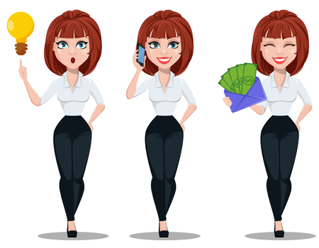 Business woman in office style clothes with brown hair. Businesswoman cartoon character, set with good idea, with smartphone and with envelope full of money. Vector illustration on white background
