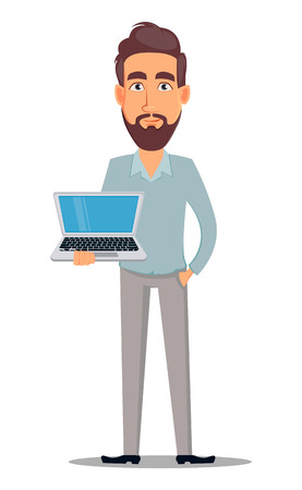 Business man in casual clothes. Businessman cartoon character holding laptop. Vector illustration on white background