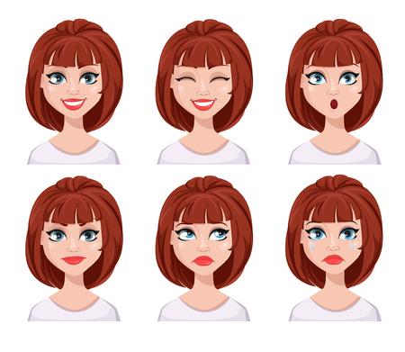 Expressions de visage de femme aux cheveux bruns. Différentes émotions féminines définies. Beau personnage de dessin animé. Illustration vectorielle isolée sur fond blanc.