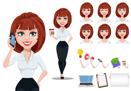 Business woman in office style clothes with brown hair. Cheerful businesswoman cartoon character creation set, pack of body parts and emotions. Vector illustration on white background Ilustração