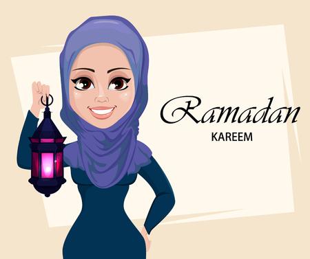Ramadan Kareem greeting card with beautiful Muslim woman holding traditional Arabic lantern. Usable for Eid Mubarak. Stock vector illustration