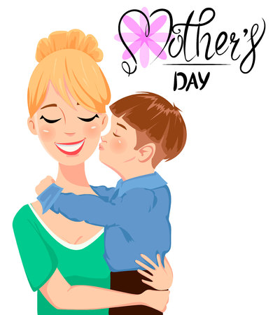 Mother's day greeting card. Child hugging and kissing his beautiful mom. Cute cartoon characters and handwritten lettering. Vector illustration on white background.
