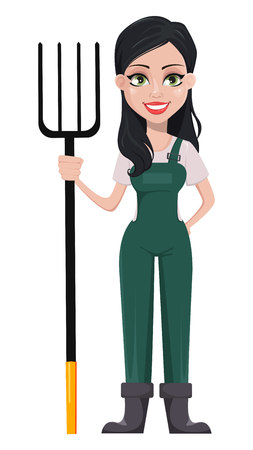 Gardener woman, cartoon character in uniform. Beautiful farmer girl holding pitchfork. Vector illustration on white background.