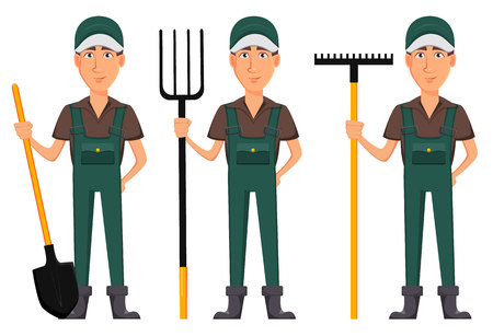 Gardener man, cartoon character in uniform, set of three poses. Handsome farmer holding shovel, holding pitchfork and holding rake. Illustration