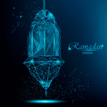 Ramadan Kareem greeting card with traditional Arabic lantern. Polygonal breaking lantern with parts flying apart. Usable for Eid Mubarak. Stock vector on blue background.