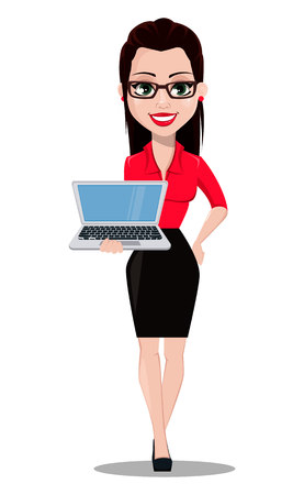 Sexy secretary. Beautiful office assistant in office style clothes holding laptop. Vector illustration on white background Çizim