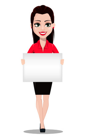 Sexy secretary. Beautiful office assistant in office style clothes holding blank placard. Vector illustration on white background Çizim