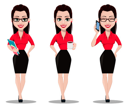 Sexy secretary, set of three poses. Beautiful office assistant in office style clothes holding documents, holding a cup of hot drink and talking by phone. Vector illustration