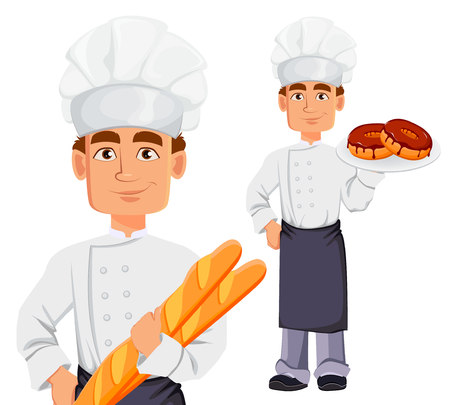 Handsome baker in professional uniform and chef hat, set. Cheerful cartoon character holding baguette and holding donuts. Vector illustration on white background.