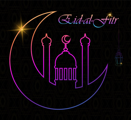 Eid Al Fitr greeting card with line mosque dome, moon and lantern. Eid Mubarak. Vector illustration on black background.