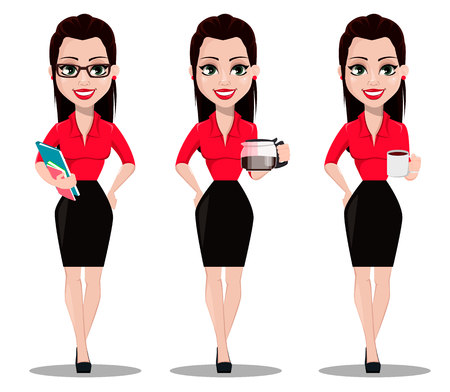 Sexy secretary, set of three poses. Beautiful office assistant in office style clothes holding documents, holding coffeepot and holding a cup of coffee. Vector illustration