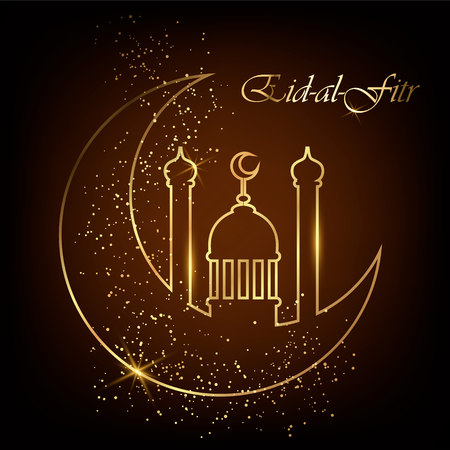 Eid Al Fitr greeting card with line mosque dome, moon and golden sand. Eid Mubarak. Vector illustration on black background.