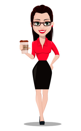 Sexy secretary. Beautiful office assistant in office style clothes holding coffee. Vector illustration on white background