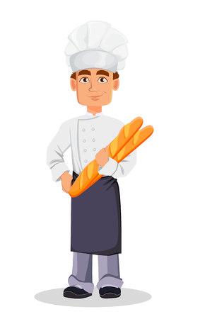 Przystojny piekarz w profesjonalnym mundurze i kapeluszu szefa kuchni trzymając bagietki. Wesoła postać z kreskówki. Ilustracja wektorowa na białym tle.