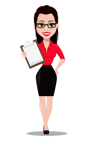 Sexy secretary. Beautiful office assistant in office style clothes holding clipboard. Vector illustration on white background