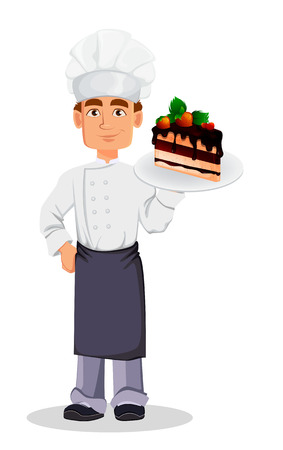 Handsome baker in professional uniform and chef hat holding piece of cake on plate. Cheerful cartoon character. Vector illustration on white background.
