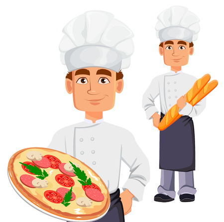 Handsome baker in professional uniform and chef hat, set. Cheerful cartoon character holding pizza and holding baguette. Vector illustration on white background.