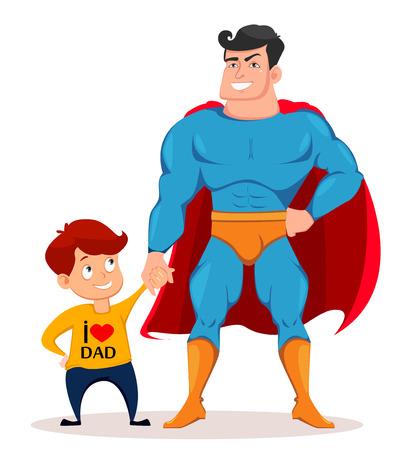 父亲节贺卡,传单,海报或横幅。快乐的儿子和父亲穿着超级英雄的服装站在一起。矢量插图上的白色背景