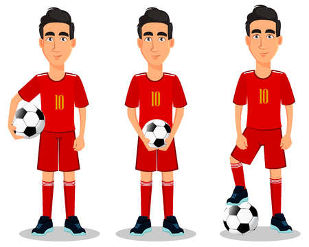 Football player in red uniform, set of three poses. Handsome cartoon character with soccer ball. Vector illustration on white background.  Vettoriali