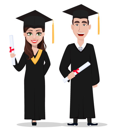 Students graduation. Handsome guy and beautiful lady, cartoon characters holding diplomas. Vector illustration isolated on white background.  イラスト・ベクター素材