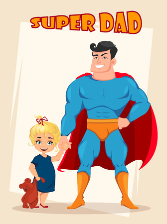 Happy Fathers Day greeting card, flyer, poster or banner. Cheerful daughter and dad in costume of superhero standing together. Vector illustration on abstract background