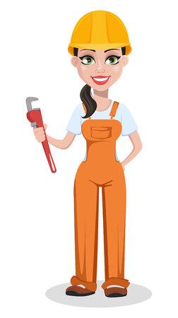 Bello costruttore femminile in uniforme, personaggio dei cartoni animati. Operaio edile professionista. Donna sorridente riparatore che tiene chiave regolabile. Illustrazione vettoriale su sfondo bianco