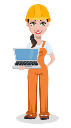 Beautiful female builder in uniform, cartoon character. Professional construction worker. Smiling repairer woman holding laptop. Vector illustration on white background