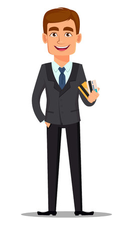 Handsome banker in business suit. Cheerful cartoon character holding credit cards. Vector illustration on white background.