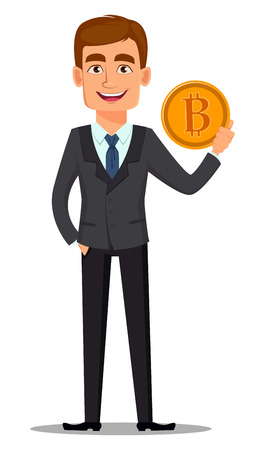 Handsome banker in business suit. Cheerful cartoon character holding golden bitcoin. Vector illustration on white background.