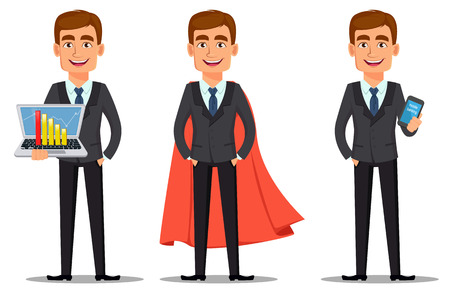 Handsome banker in business suit, set. Cheerful cartoon character holding laptop, wearing cloak like superhero and holding smartphone. Vector illustration on white background.