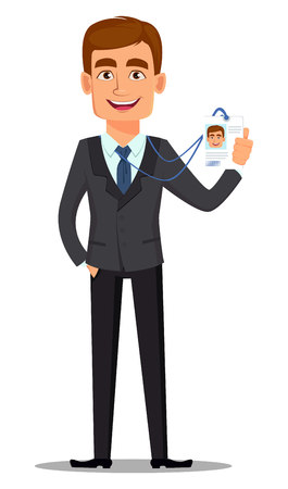 Handsome banker in business suit. Cheerful cartoon character showing badge. Vector illustration on white background.