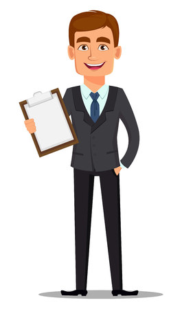Handsome banker in business suit. Cheerful cartoon character holding clipboard. Vector illustration on white background.