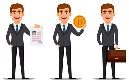 Handsome banker in business suit, set. Cheerful cartoon character holding document, holding golden bitcoin and holding briefcase. Vector illustration on white background.