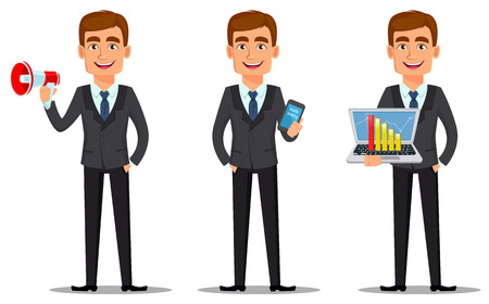Handsome banker in business suit, set. Cheerful cartoon character holding loudspeaker, holding smartphone and holding laptop. Vector illustration on white background.
