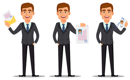 Handsome banker in business suit, set. Cheerful cartoon character holding envelope with document, holding document and holding badge. Vector illustration on white background.