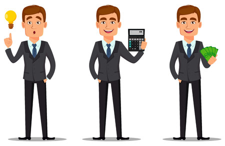 Handsome banker in business suit, set. Cheerful cartoon character having a good idea, holding calculator and holding money. Vector illustration on white background. Vetores