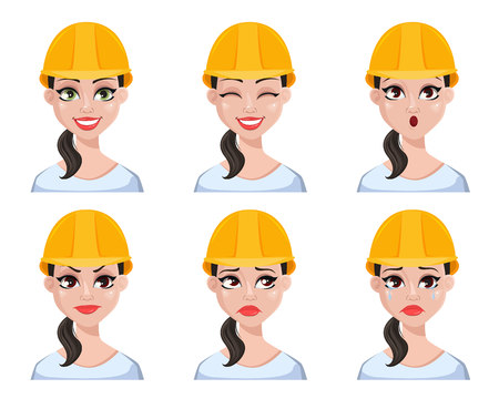 Beautiful female builder in helmet, set with different facial expressions, cartoon character emotions. Vector illustration
