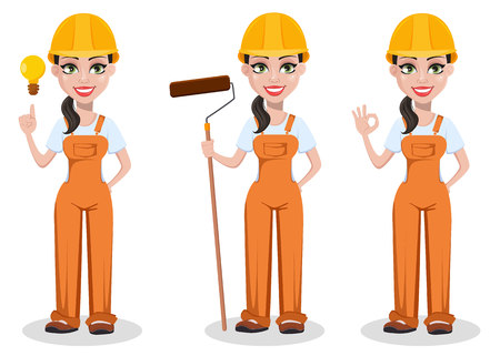 Beautiful female builder in uniform, cartoon character set. Professional construction worker. Smiling repairer woman with a good idea, with paint roller and with ok sign. Vector illustration