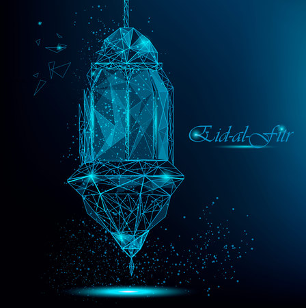 Eid Al Fitr greeting card with traditional Arabic lantern. Polygonal breaking lantern with parts flying apart. Usable for Eid Mubarak. Stock vector on blue background.