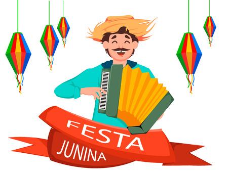 Festa Junina greeting card, poster, banner or invitation. Brazil June festival, cheerful man playing on accordion. Vector illustration