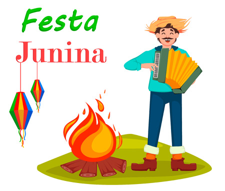 Festa Junina greeting card, poster, banner or invitation. Brazil June festival, man paying on accordion near bonfire. Vector illustration