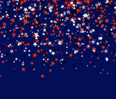 Red, black and white stars in national USA flag colors. Usable as a background for Independence (Memorial, Labor, Constitution, Patriot) day. Vector illustration on blue background