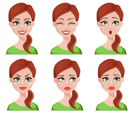 Espressioni del viso di donna più pulita con capelli castani. Set di emozioni femminili diverse. Bellissimo personaggio dei cartoni animati. Illustrazione vettoriale isolato su sfondo bianco.