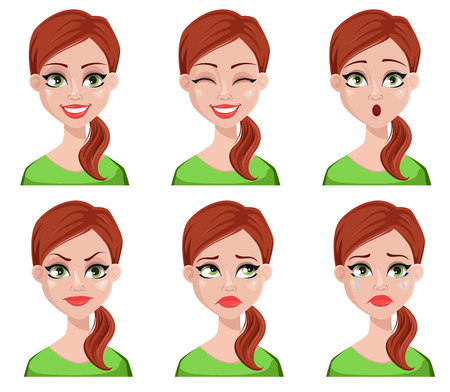 Expressions de visage de femme plus propre aux cheveux bruns. Différentes émotions féminines définies. Beau personnage de dessin animé. Illustration vectorielle isolée sur fond blanc.