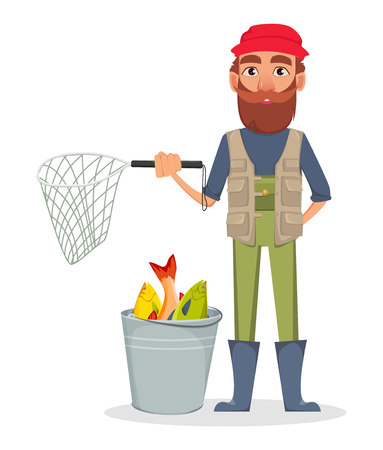 Fisher cartoon character. Fishermen holding nettle and standing near bucket full of fish. Vector illustration on white background Vectores