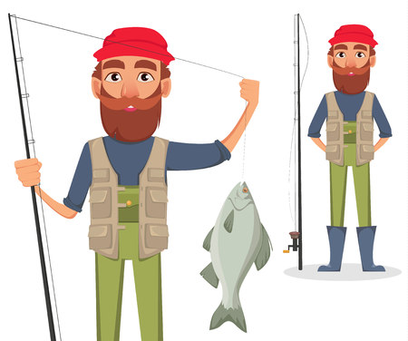 Fisher cartoon character, set. Fishermen with caught fish and with fishing rod. Vector illustration