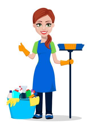 Personeel schoonmaakbedrijf in uniform. Vrouw stripfiguur schoner met borstel en met emmer vol wasmiddelen. Vectorillustratie op witte achtergrond